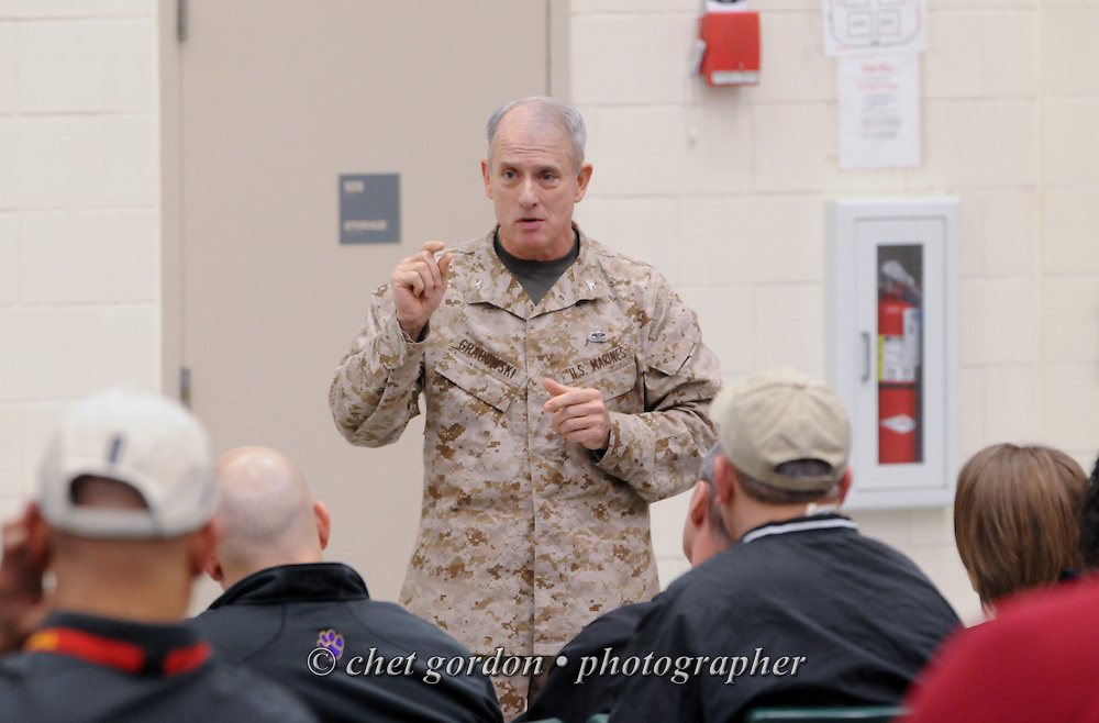 A Marine Corps Colonel speaks to civilian educators at the Marine Corps Recruit Depot (MCRD) in Parris Island, SC on Wednesday, March 13, 2013. Nearly 40 educators from the Hudson Valley region of New York participated in the USMC's 2013 Educator's Workshop at Parris Island, SC.