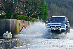 © Licensed to London News Pictures. 09/01/2014. Marlow, UK. A car drives through floodwater. Rising river levels in the River Thames at Marlow in Buckinghamshire have led to flooding and property damage along the river today 9th January 2014. Large areas of Britain are experiencing flooding after wet weather. Photo credit : Stephen Simpson/LNP