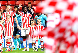 Wilfried Bony of Stoke City waves to the crowd as he enters the pitch to face his old side Swansea City - Mandatory by-line: Robbie Stephenson/JMP - 31/10/2016 - FOOTBALL - Bet365 Stadium - Stoke-on-Trent, England - Stoke City v Swansea City - Premier League