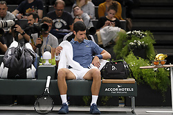 October 30, 2018 - Paris, France - Serbian player NOVAK DJOKOVIC during the tournament Rolex Paris Master at Paris AccorHotel Arena Stadium in Paris France..Novak Djokovic  won 7-5 6-1 (Credit Image: © Pierre Stevenin/ZUMA Wire)