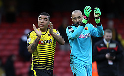 Troy Deeney of Watford and Heurelho Gomes of Watford applaud their fans at full time - Mandatory byline: Robbie Stephenson/JMP - 19/03/2016 - FOOTBALL - Vicarage Road - Watford, England - Crystal Palace v Leicester City - Barclays Premier League