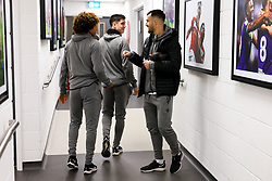 Bailey Wright greets Han-Noah Massengo and Callum O'Dowda - Rogan/JMP - 10/12/2019 - Ashton Gate Stadium - Bristol, England - Bristol City v Milwall FC - Sky Bet Championship.