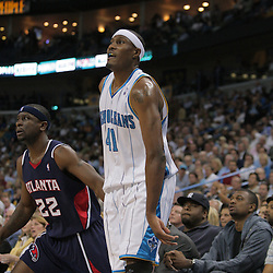 05 November 2008:  New Orleans Hornets forward James Posey (41) watches after shooting a three pointer against Atlanta Hawks guard Ronald Murray (22) during a 87-79 victory by the Atlanta Hawks over the New Orleans Hornets at the New Orleans Arena in New Orleans, LA..