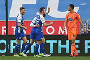 Wigan's celebrate Joe Garner goal during the EFL Sky Bet Championship match between Wigan Athletic and Ipswich Town at the DW Stadium, Wigan, England on 23 February 2019.