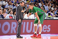 Unicaja Malaga's coach Joan Plaza talking with Alen Omic during semi finals of playoff Liga Endesa match between Real Madrid and Unicaja Malaga at Wizink Center in Madrid, June 02, 2017. Spain.<br /> (ALTERPHOTOS/BorjaB.Hojas)
