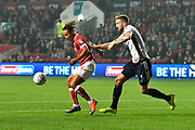 Bobby Reid (14) of Bristol City holds off Mark Beevers (5) of Bolton Wanderers during the EFL Sky Bet Championship match between Bristol City and Bolton Wanderers at Ashton Gate, Bristol, England on 26 September 2017. Photo by Graham Hunt.