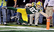 Green Bay Packers' Jordy Nelson is pushed out of bounds at the 2-yard line on a 38-yard pass from Aaron Rodgers in the 4th quarter. .The Green Bay Packers played the Pittsburgh Steelers in Super Bowl XLV,  Sunday February 6, 2011 in Cowboys Stadium. Steve Apps-State Journal.