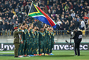 South African National Anthem during the Rugby Championship match between the New Zealand All Blacks & South Africa at Westpac Stadium, Wellington on Saturday 27th July 2019. Copyright Photo: Grant Down / www.Photosport.nz