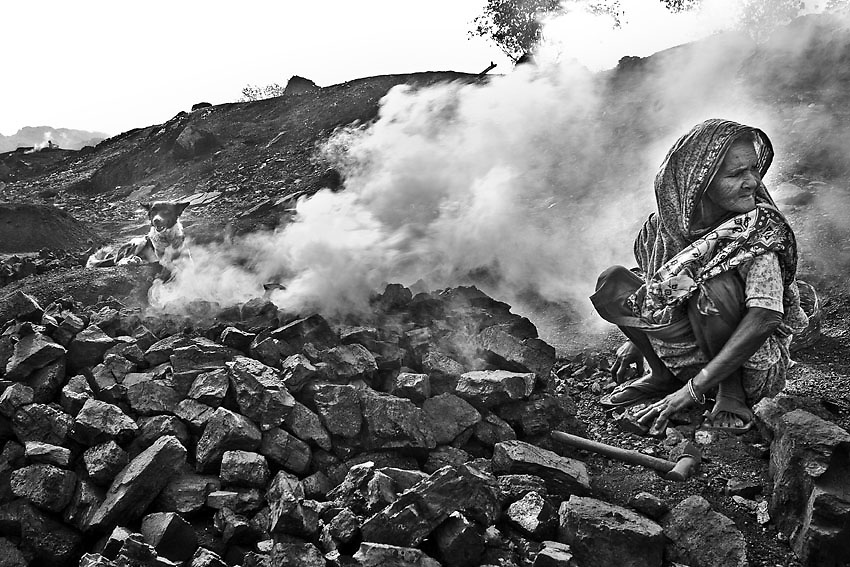 The widow of one of the many victims from the Jharia underground fires, Dhanbad, India. <br />