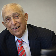 Senator Frank Lautenberg (D-NJ) speaks with gathered staff inside his office in Washington following a hearing to vote for an Obama administration nominee on Thursday, May 16, 2013.  Sen. Lautenberg had not been in Washington since February 28, as weakness in his legs has prevented him from traveling to the Capitol. He died only a few weeks later, on June 3, 2013. John Boal Photography