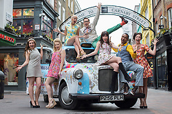 © licensed to London News Pictures. London, UK 28/02/2013. Carnaby Street, a new musical in London's West end being launched by their cast, including Verity Rushworth and Sid Owen in Carnaby Street on Thursday 28 February 2013. The show explores the 60's as a time of hope and freedom and will feature hits from the era.. Photo credit: Tolga Akmen/LNP