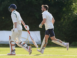Craig Hampson of Bristol Rugby celebrates as he takes a catch during an exhibition cricket game with Bishopston Cricket Club - Photo mandatory by-line: Dougie Allward/JMP - Mobile: 07966 386802 - 29/07/2015 - SPORT - Cricket - Bristol - Westbury Fields - Bishopston CC v Bristol Rugby - Exhibition Game