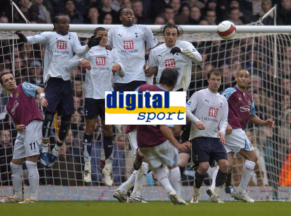 Photo: Olly Greenwood.<br />West Ham United v Tottenham Hotspur. The Barclays Premiership. 04/03/2007. West Ham's Carlos Teves scores from a free kick