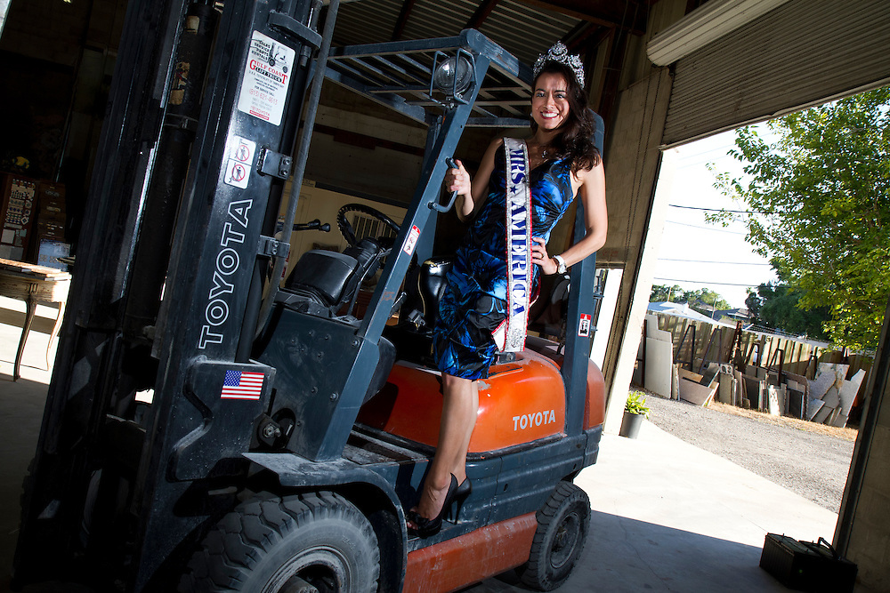 Recently crowned Mrs. America April Lufriu balances being a dental hygienist, helping run a marble business and raising her children. ..Photo by James Branaman