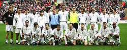 LIVERPOOL, ENGLAND - SUNDAY MARCH 27th 2005: Celebrity XI's line up for a team photo during the Tsunami Soccer Aid match at Anfield. (Pic by David Rawcliffe/Propaganda)..Back row L-R: James Redmond, Shane Ritchie, Ralf Little, John Regis, Ian Broudie, Sergio Pizzorno, Paul Harrison, Niall Quinn, Eric Nixon, Brian McFadden, Michael Vaughan, Joe Lovejoy, Patrick McGuiness..Front row L-R: Harvey, xxxx, Marcus Patrick, Amir Khan, Perry Fenwick, Paul Salt, Nicky Byrne, Stephen Fletcher, DJ Spoony.