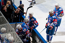 Players of Slovenia at ice-hockey match between Slovenia and Kazakhstan, on April 12, 2011 at Hala Tivoli, Ljubljana, Slovenia. (Photo By Matic Klansek Velej / Sportida.com)