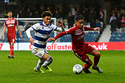 Marcus Tavernier (7) of Middlesbrough battles for possession with Luke Amos (8) of Queens Park Rangers during the EFL Sky Bet Championship match between Queens Park Rangers and Middlesbrough at the Kiyan Prince Foundation Stadium, London, England on 9 November 2019.