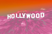 Image of the Hollywood sign in the Hollywood Hills, Los Angeles, California, America west coast (digital photo-illustration)