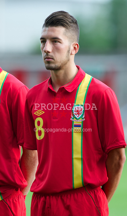 WREXHAM, WALES - Wednesday, August 15, 2012: Wales' Lee Lucas lines-up before the UEFA Under-21 Championship Qualifying Round Group 3 match against Armenia at the Racecourse Ground. (Pic by Dave Richards/Propaganda)