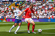 England forward Raheem Sterling (Manchester City) attacks the goal and is blocked by Switzerland defender Nico Elvedi (4) during the UEFA Nations League 3rd place play-off match between Switzerland and England at Estadio D. Afonso Henriques, Guimaraes, Portugal on 9 June 2019.