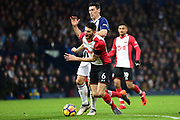 Southampton defender Wesley Hoedt (6) is fouled by West Bromwich Albion midfielder Gareth Barry (18) during the Premier League match between West Bromwich Albion and Southampton at The Hawthorns, West Bromwich, England on 3 February 2018. Picture by Dennis Goodwin.