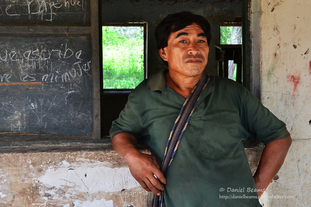 Guarani man at a school in Pirirenda, Gutierrez, Santa Cruz, Bolivia