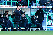 Celtic manager Brendan Rodgers whistles to attract attention during the Ladbrokes Scottish Premiership match between Hibernian and Celtic at Easter Road, Edinburgh, Scotland on 10 December 2017. Photo by Craig Doyle.