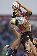 Photo Peter Spurrier<br /> 17/11/2002<br /> Zurich Premiership Rugby - Harlequins v Wasps<br /> Alex Codling take's a claen line out ball. [Mandatory Credit:Peter SPURRIER/Intersport Images]
