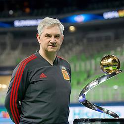 Venacio Lopez, head coach of Spain at photoshoting with trophy before final of UEFA Futsal EURO 2018, on February 9, 2018 in Arena Stozice, Ljubljana, Slovenia. Photo by Urban Urbanc / Sportida