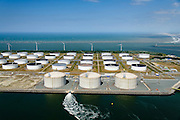 Nederland, Zuid-Holland, Rotterdam, 10-06-2015; Yangtzehaven met Gate terminal voorgrond) en de Maasvlakte Olie Terminal (MOT). <br /> Yangtzehaven with Maasvlakte Oil Terminal (MOT), and the three tanks of  the Gate terminal for LNG import. <br /> luchtfoto (toeslag op standard tarieven);<br /> aerial photo (additional fee required);<br /> copyright foto/photo Siebe Swart