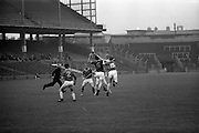 10/09/1967<br /> 09/10/1967<br /> 10 September 1967<br /> Junior Hurling 'Home' Final: Kerry v Wicklow at Croke Park, Dublin. <br /> Wicklow block trying to clear.