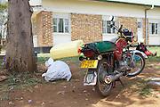 A boda boda bike pared up outside Kitovu Hospital, Uganda.