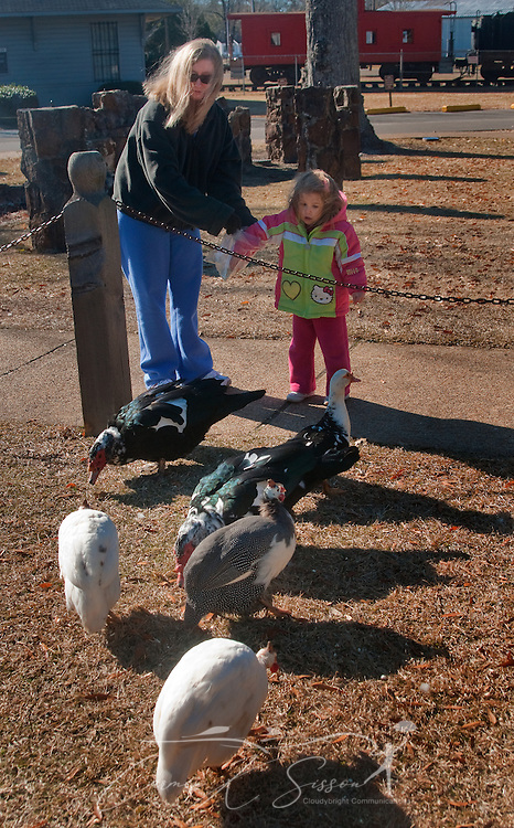 From left, Sarah Smith and Noelle Smith feed the ducks at Highland Park in Meridian, Miss. on Jan. 12, 2011. A wide variety of birds and waterfowl populate the park, making it a favorite destination for avian hobbyists. (Photo by Carmen K. Sisson/Cloudybright)