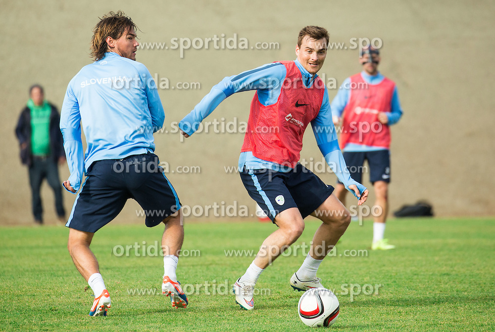 Rene Krhin and Nejc Pecnik during practice session of Slovenian Football Team before Euro 2016 Qualifying match against Ukraine, on November 10, 2015 in Football centre Brdo pri Kranju, Slovenia. Photo by Vid Ponikvar / Sportida