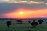 Sunset over the savanna, Chambura, Queen Elizabeth National Park, Uganda