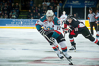 KELOWNA, CANADA - FEBRUARY 9: Tyrell Goulbourne #12 of Kelowna Rockets skates with the puck against the Prince George Cougars on February 9, 2015 at Prospera Place in Kelowna, British Columbia, Canada.  (Photo by Marissa Baecker/Shoot the Breeze)  *** Local Caption *** Tyrell Goulbourne;
