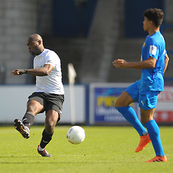TELFORD COPYRIGHT MIKE SHERIDAN Theo Streete of Telford during the National League North fixture between AFC Telford United and Leamington AFC at the New Bucks Head on Monday, August 26, 2019<br /> <br /> Picture credit: Mike Sheridan<br /> <br /> MS201920-005