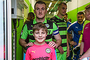 Mascot with Forest Green Rovers Lee Collins(5) during the EFL Sky Bet League 2 match between Forest Green Rovers and Notts County at the New Lawn, Forest Green, United Kingdom on 10 March 2018. Picture by Shane Healey.