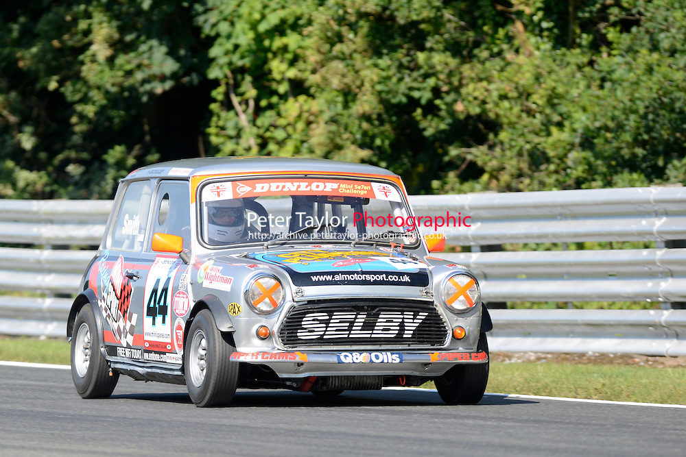 #44 Adam Smith Mini 7 during Mini Se7en - Qualifying as part of the Mini Festival  at Oulton Park, Little Budworth, Cheshire, United Kingdom. August 08 2015. World Copyright Peter Taylor. Copy of publication required for printed pictures.  Every used picture is fee-liable. http://archive.petertaylor-photographic.co.uk