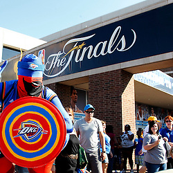 Jun 12, 2012; Oklahoma City, OK, USA;  Oklahoma City Thunder fan Captain Thunder outside prior game one in the 2012 NBA Finals against the Miami Heat at the Chesapeake Energy Arena.  Mandatory Credit: Derick E. Hingle-US PRESSWIRE
