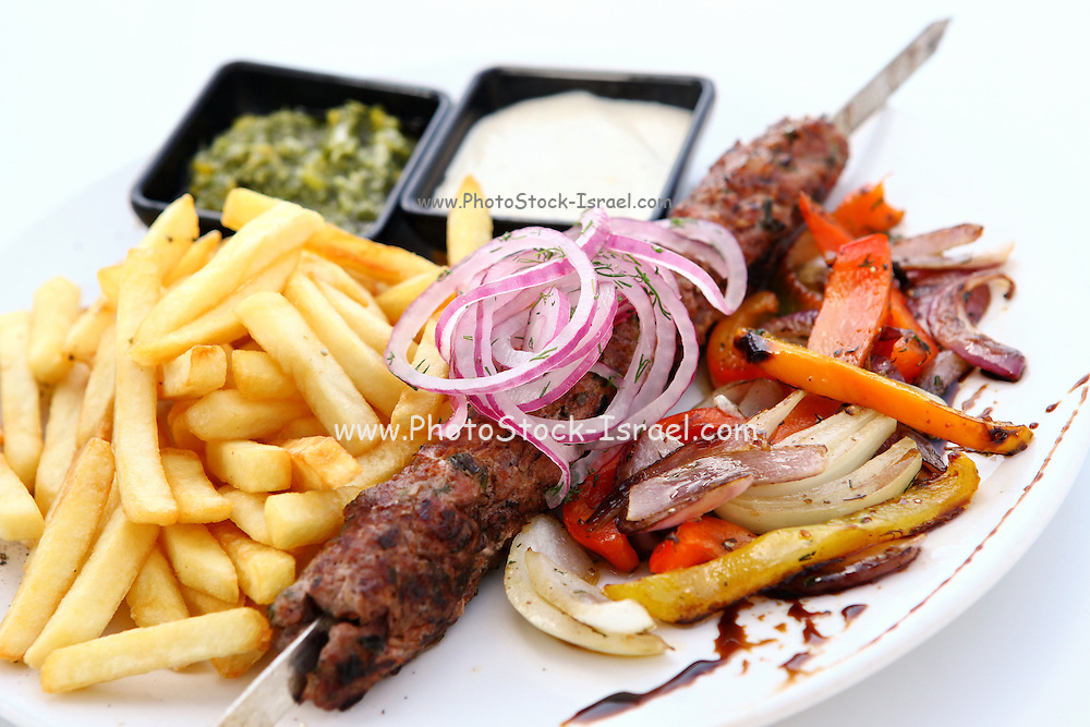 Lamb Kebab skewer on a plate with french fries