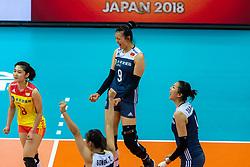 14-10-2018 JPN: World Championship Volleyball Women day 15, Nagoya<br /> China - United States of America 3-2 / Changning Zhang #9 of China, Mengjie Wang #18 of China