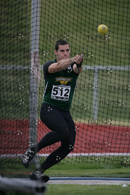 (Charlottetown, Prince Edward Island -- 20090714) Alexandre Gagn? of Sherbrooke competes in the  hammer throw at the 2009 Canadian Junior Track & Field Championships at UPEI Alumni Canada Games Place on the campus of the University of Prince Edward Island, July 17-19, 2009.  Sean Burges / Mundo Sport Images ..Mundo Sport Images has been contracted by Athletics Canada to provide images to the media.