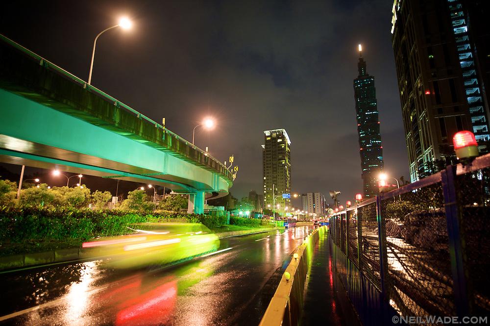 Taipei City just after an evening rain storm.