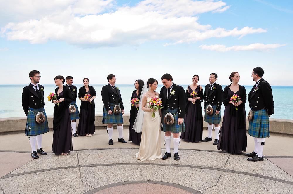 Kathleen & Brendan's Bridal Party in front of Lake Michigan, Madonna della Strada Chapel, Loyola University Chicago