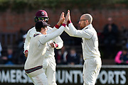 Wicket - Jack Leach of Somerset celebrates taking the wicket of Stephen Parry of Lancashire during the Specsavers County Champ Div 1 match between Somerset County Cricket Club and Lancashire County Cricket Club at the Cooper Associates County Ground, Taunton, United Kingdom on 13 September 2017. Photo by Graham Hunt.
