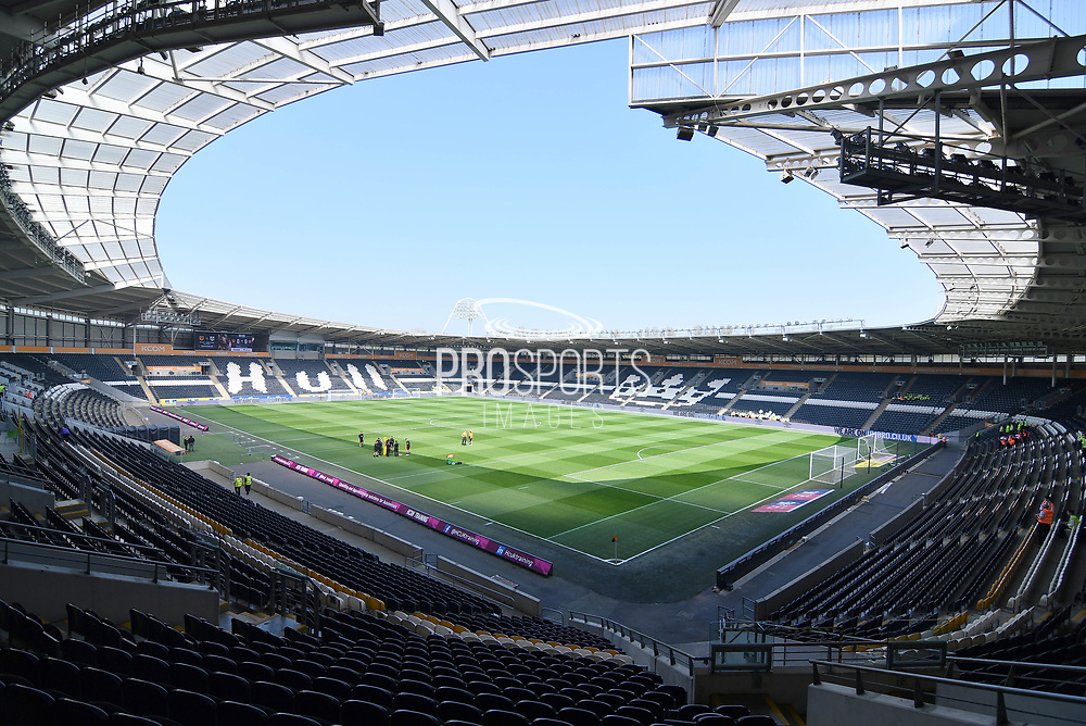 A general view inside Hull City KCOM stadium before the EFL Sky Bet Championship match between Hull City and Sheffield United at the KCOM Stadium, Kingston upon Hull, England on 22 April 2019.