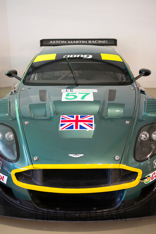 British Aston Martin DBR 9GT GB2005 race car at the exhibition musee at Le Mans Racetrack, France