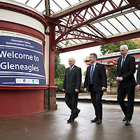 Transport Minister Unveils Funding for Gleneagles Station....15.11.13<br /> Keith Brown MSP Transport Minister for Scotland pictured at Gleneagles railway station this morning to announce funding to improve Gleneagles station and services ahead of the 2014 Ryder Cup. He is pictured with from left, Cllr Ian Miller Council Leader Perth & Kinross Council, Steve Montgomery MD Scotrail and David Simpson Route MD Network Rail.<br /> Picture by Graeme Hart.<br /> Copyright Perthshire Picture Agency<br /> Tel: 01738 623350  Mobile: 07990 594431