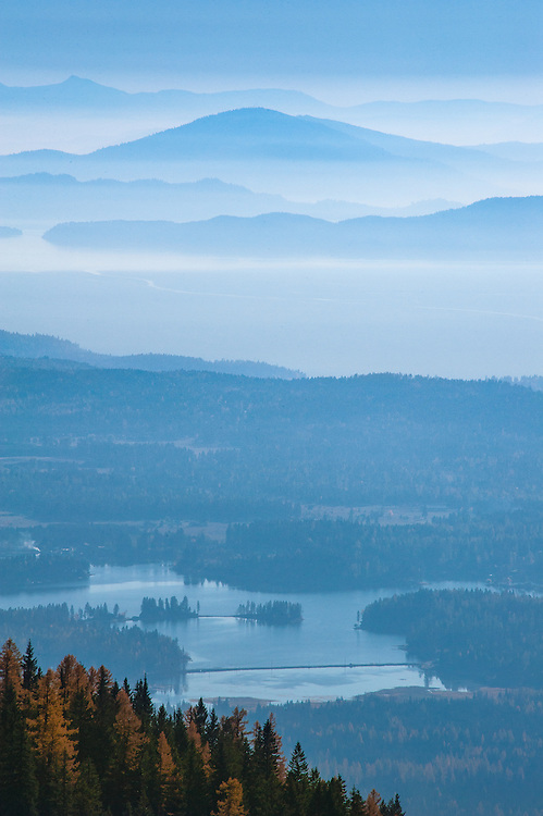 View from hiking trail on Strawberry Mountain looking southwest with views of Echo Lake, Flathead Lake, Wild Horse Island, and the Salish Mountains